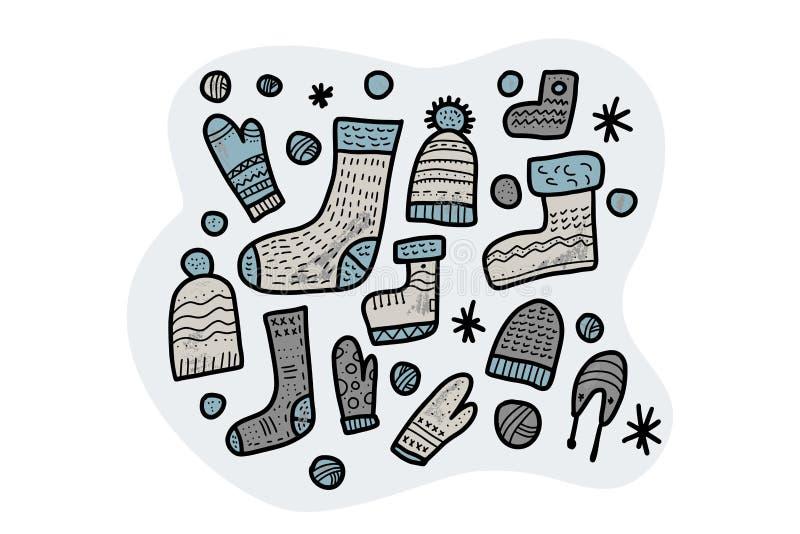 Warm socks, beanies set. Vector illustration. vector illustration