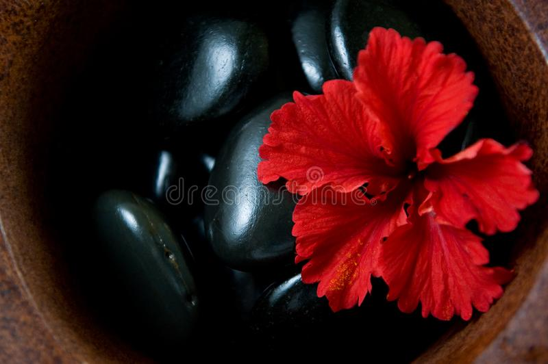 Warm stone spa therapy collection stock image