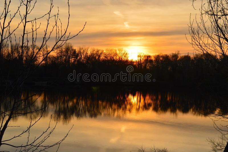 Download Boise River Sunset 2 stock image. Image of trees, idaho - 100820817