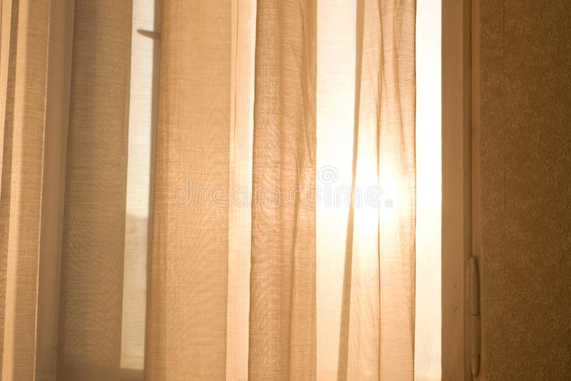Download Warm Sunlight Shining Through Sheer Curtains Stock Image