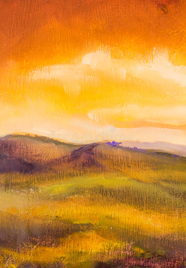 Warm sunset in mountains artistic painting background. Warm sunset in mountains closeup landscape artistic painting background stock images