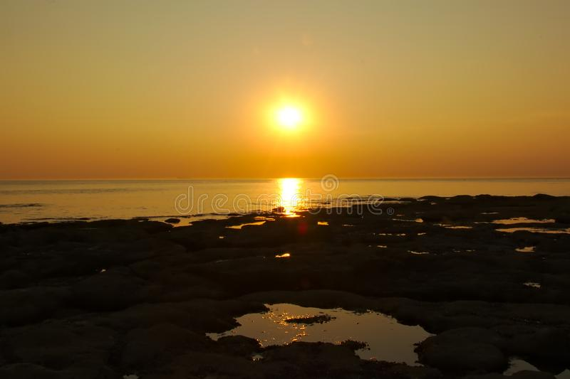 Sunset over the French north sea coast stock photo