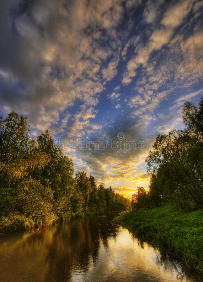 Warm sunset river of Russia stock photos