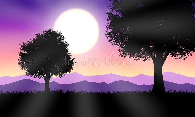 Warm sunset royalty free illustration