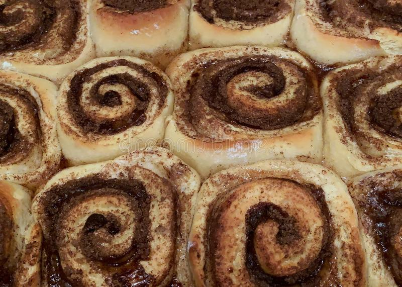 Homemade cinnamon rolls scrunched together in a pan stock photography