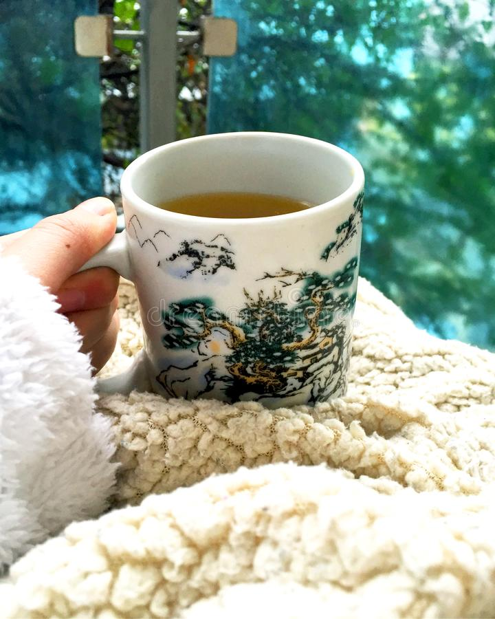 Warm tea for cold days. Against colds and for enjoying royalty free stock photo