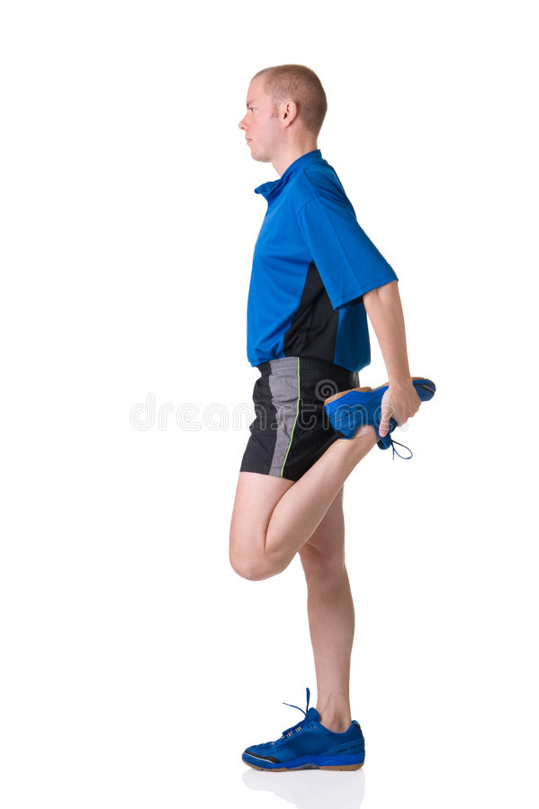 Warm up. Full isolated picture of a caucasian man stretching the muscles stock images