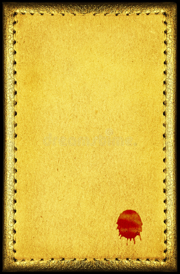 Warm vintage bloody blank. Warm vintage, yellow toned, old blank with blood signature. Stitched with thread and boarded with fine textured antique frame royalty free stock photo