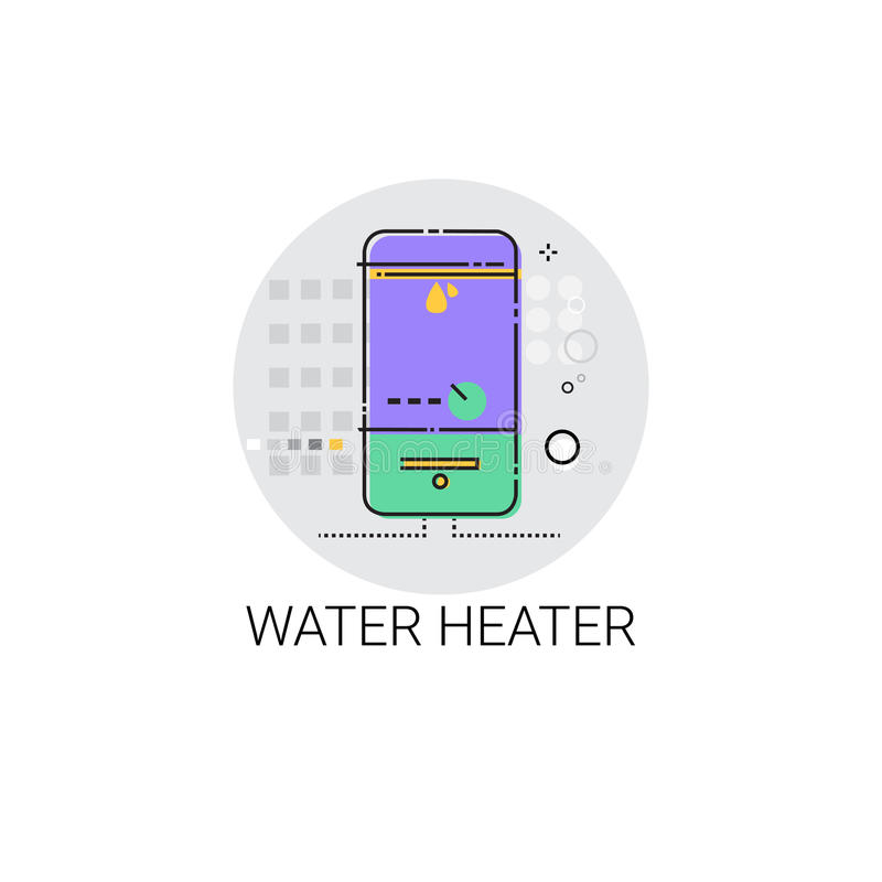 Warm water Heater Household House Heating Icon royalty-vrije illustratie