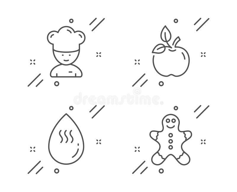 Warm water, het Koken chef-kok en geplaatste het voedselpictogrammen van Eco Het teken van de peperkoekmens Aquadaling, sous-Chef stock illustratie