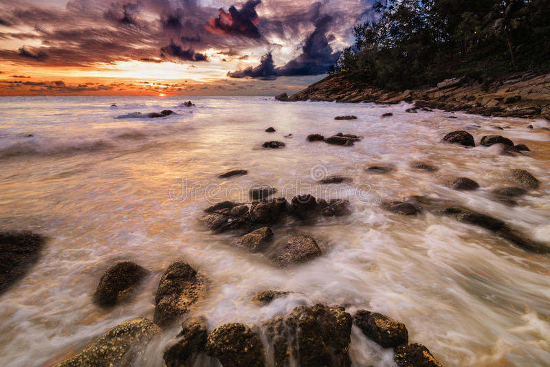 Warm wave big stopper in sunset stock image