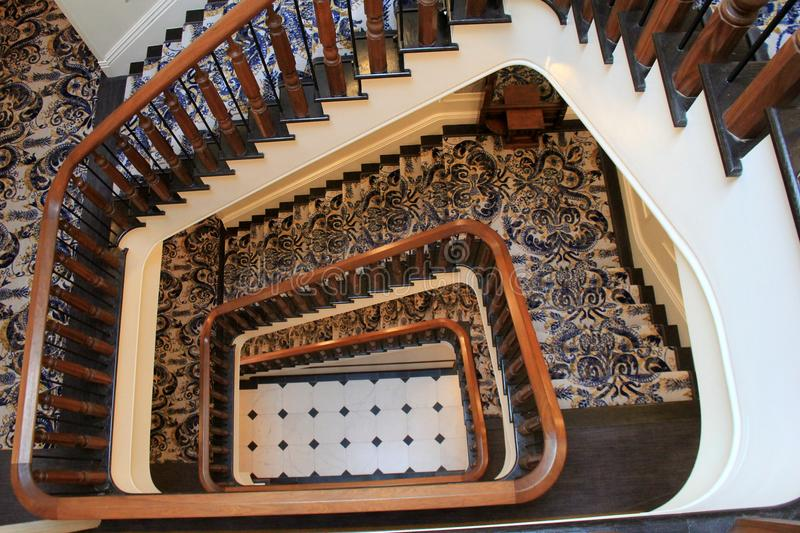 Gorgeous detail in stairway leading to the lobby, The Adelphi Hotel, Saratoga Springs, New York, 2018 royalty free stock photo