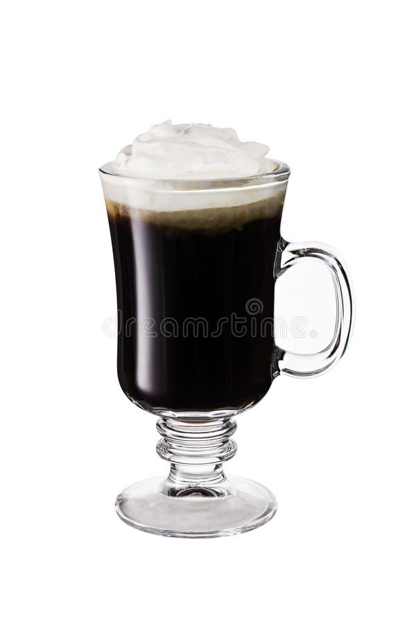 Warm Whiskey Irish Coffee Cocktail on white stock photos