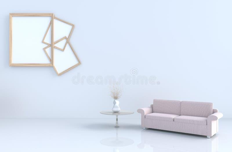 Warm white room decor with shelves wall, tile floor, carpet, branch,sofa. stock illustration