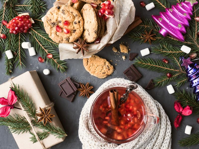 Warm wine in a mug Gift Box Cookies with Chocolate Christmas decorations stock photo