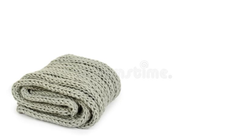 Warm winter clothes isolated on white background. Sale and buy. copy space, template.  stock image