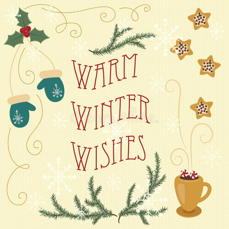 Warm winter wishes. Hand drawn greeting card. Eps 10 royalty free illustration