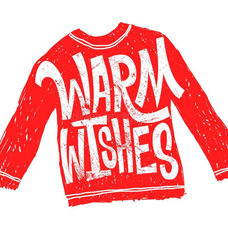 Warm wishes. Christmas calligraphy. Handwritten modern brush lettering. Hand drawn design elements. Red sweater. Cartoon stock illustration