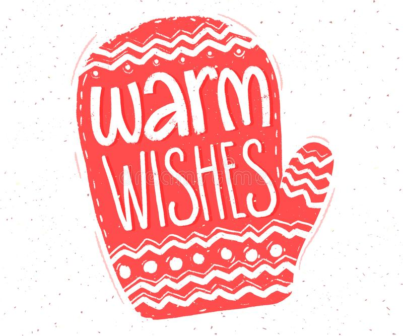 Warm wishes. Hand lettering in red mitten shape for Christmas cards and tags. vector illustration