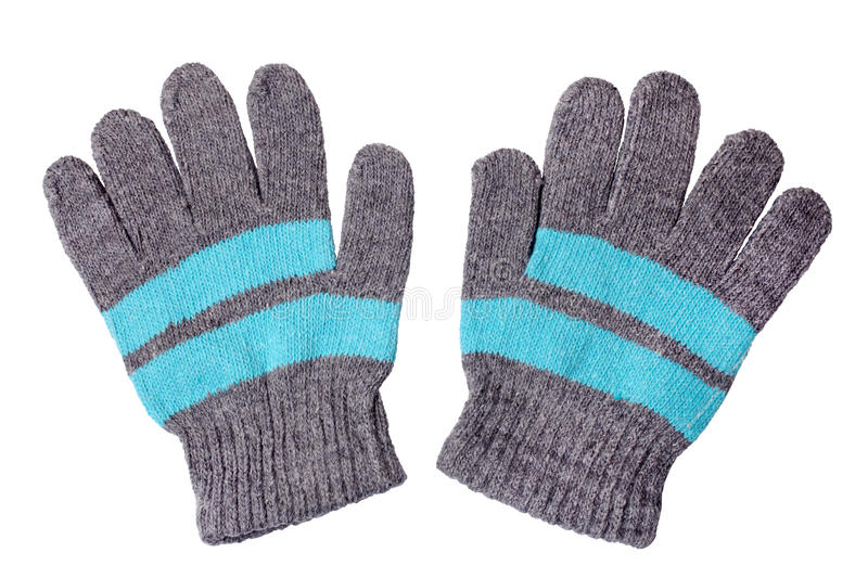 Warm woolen knitted gloves royalty free stock image