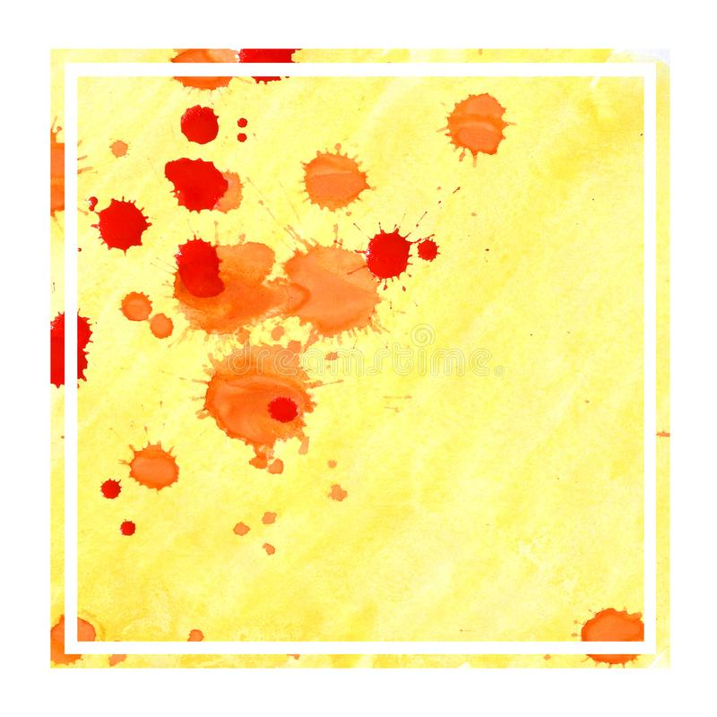 Warm yellow hand drawn watercolor rectangular frame background texture with stains. Modern design element stock images