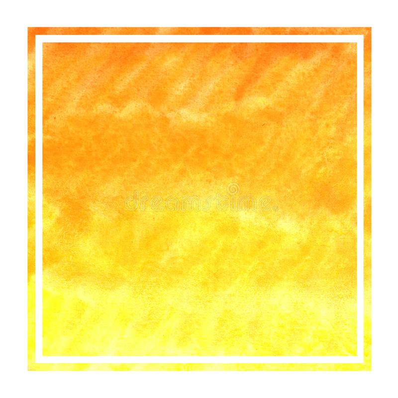 Warm yellow hand drawn watercolor rectangular frame background texture with stains. Modern design element stock photography