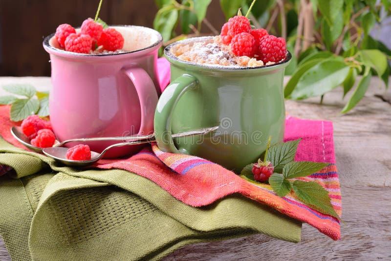Warme die chocoladecake in een mok met suikerglazuur wordt bestrooid royalty-vrije stock afbeeldingen