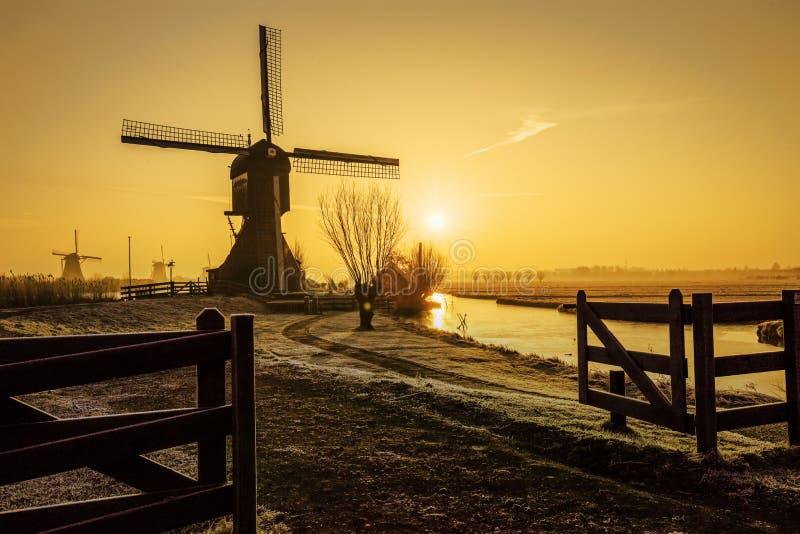 Warme en bevroren windmolenzonsopgang stock foto's
