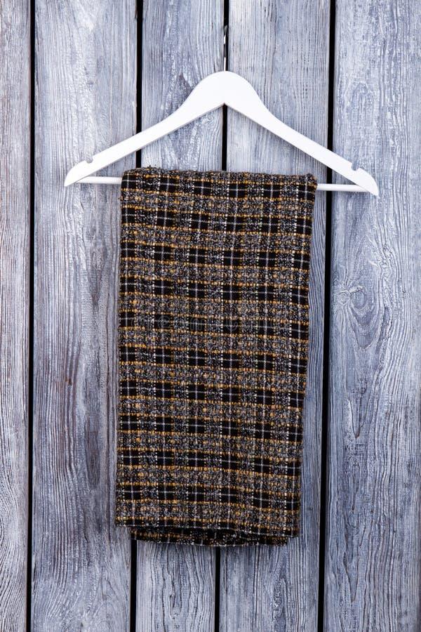 Warme geruite broek op hanger stock afbeelding