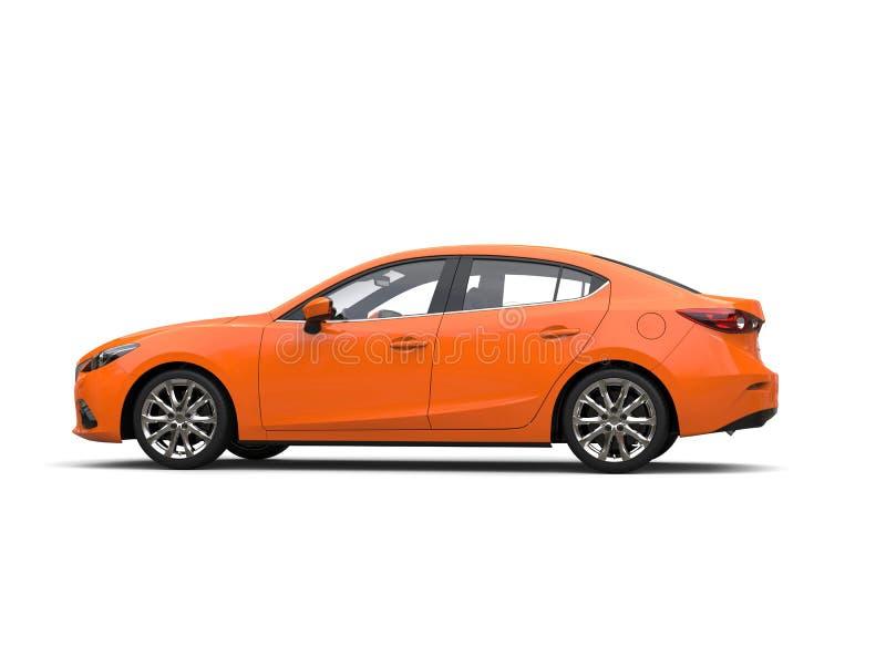 Warme oranje moderne bedrijfsauto - zijaanzicht vector illustratie