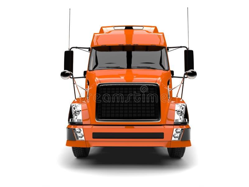Warme oranje moderne semi aanhangwagenvrachtwagen - vooraanzicht vector illustratie