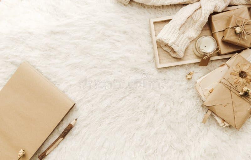 Warme sweater, droge bloemen bij witte achtergrond stock foto