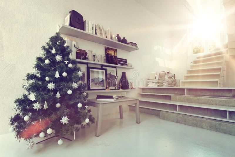 Warmer Ambiente Weihnachtsbaum in einem modernen Haus stock abbildung