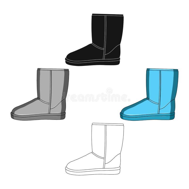 Warmer Winter blaue ugg Stiefel Bequeme Winterschuhe f?r Alltagskleidung Verschiedene Schuhe sondern Ikone in der Karikatur aus,  vektor abbildung
