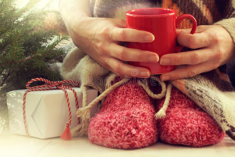 Warming festive moment. Red mug in hand, knitted socks on the legs next to the Christmas tree and a gift stock image