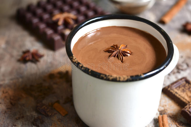 Warming spicy hot chocolate. stock images