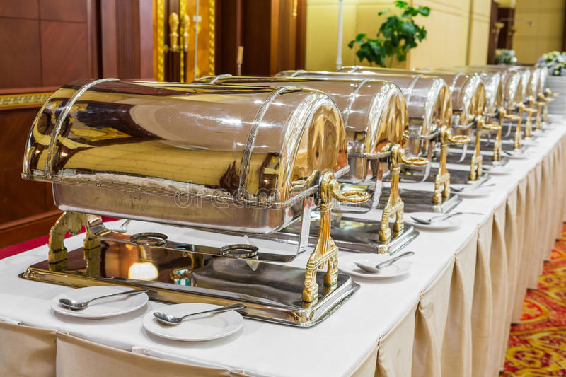Warming Trays For Buffet Line Royalty Free Stock Images
