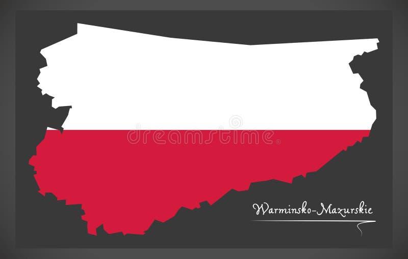 Warminsko - Mazurskie map of Poland with Polish national flag il. Warminsko - Mazurskie map of Poland with Polish national flag stock illustration