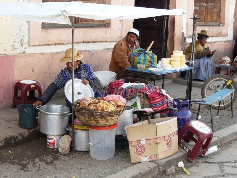 Street vendors in Puno, Peru stock photo