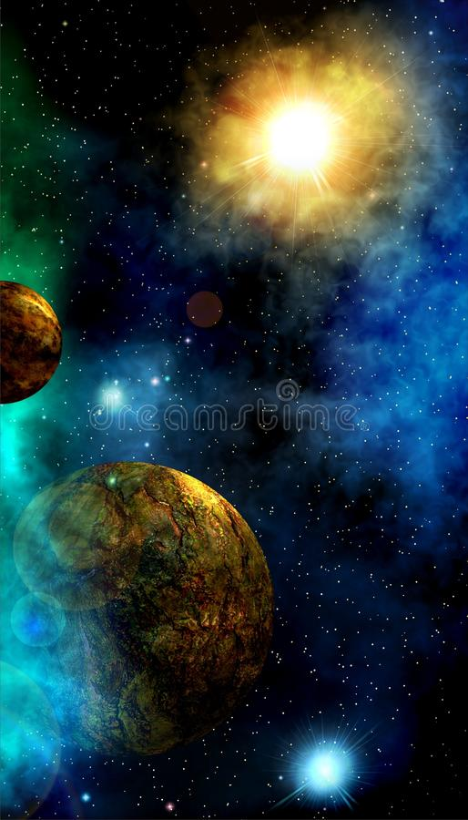 The warmth of another Sun. Fantastic views of distant space. Deep outer space background with stars and nebula