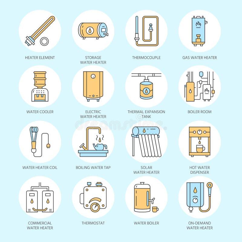 Warmwasserbereiter, Kessel, Thermostat, elektrische, Gas, Solarheizungen und andere HausHeizung zeichnen Ikonen Dünnes lineares lizenzfreie abbildung
