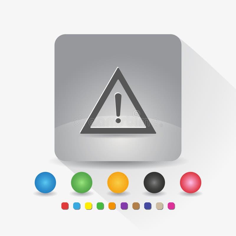 Warndreieckikone Zeichensymbol App in der runden Ecke der grauen quadratischen Form mit langer Schattenvektorillustration und Far stock abbildung
