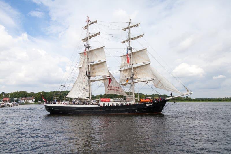 Sailing ship mercedes at public event hanse sail. Warnemuende / Germany - August 12, 2017: sailing ship mercedes at public event hanse sail in warnemuende royalty free stock photos