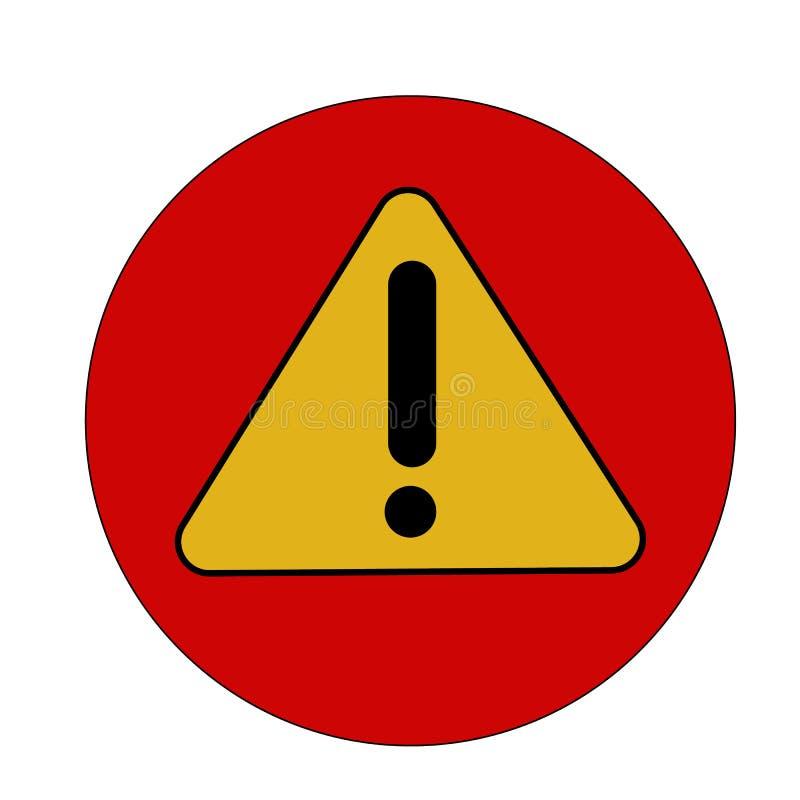 Warnende Ikone dieses lokalisierte flache Symbol wird mit gelber Farbe auf einem roten Hintergrund, Winkel werden gerundet gezeic lizenzfreie abbildung