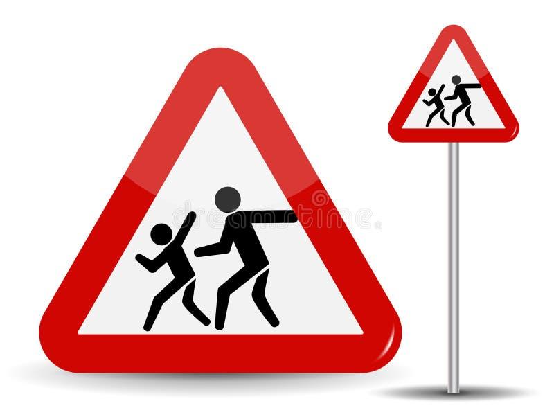warnende Kinder des Verkehrsschildes In den laufenden Kindern des roten Dreiecks Auch im corel abgehobenen Betrag vektor abbildung