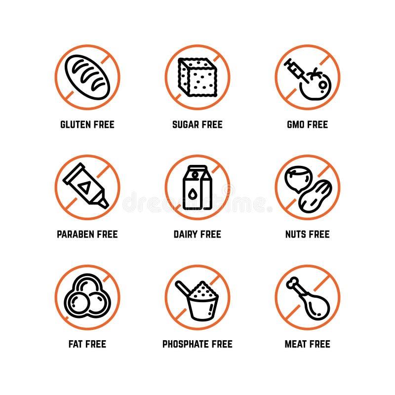Warnende Vektorikonen des Lebensmittelinhaltsstoffs lizenzfreie abbildung