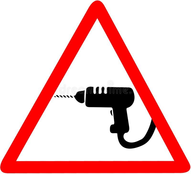 Warnendes Baubohrgerätzeichen, rotes dreieckiges Vorsichtsymbol des ÄnderungsVerkehrsschildes stock abbildung