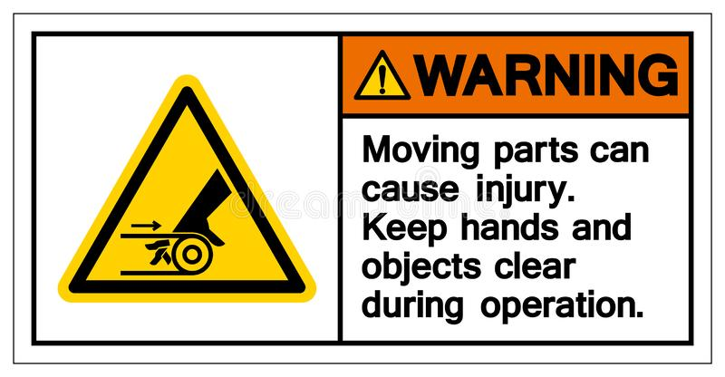 Warnendes beweglicher Teil-Ursachen-Verletzungs-Symbol, Vektor-Illustration, Isolat auf weißer Hintergrund-Ikone EPS10 lizenzfreie abbildung