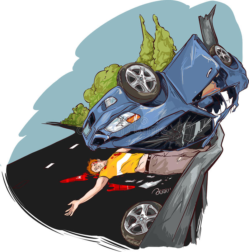 Warnendes Dreieck und Treiber in einer reflektierenden Sicherheit bekleiden nahe dem unterbrochenen Auto lizenzfreie abbildung