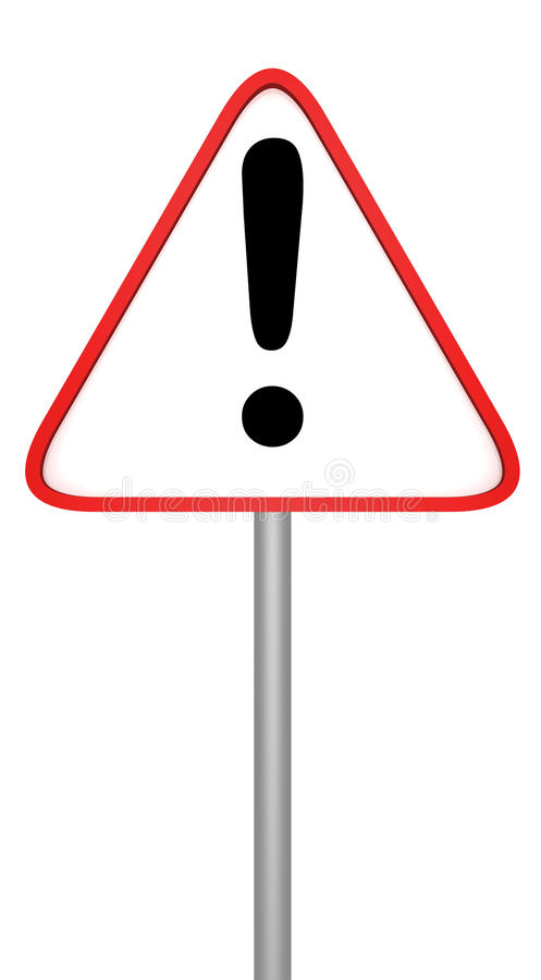 Warnendes Verkehrsschild mit Ausrufsmarkierung auf Weiß lizenzfreie abbildung